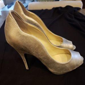 Silver 4 inch heels